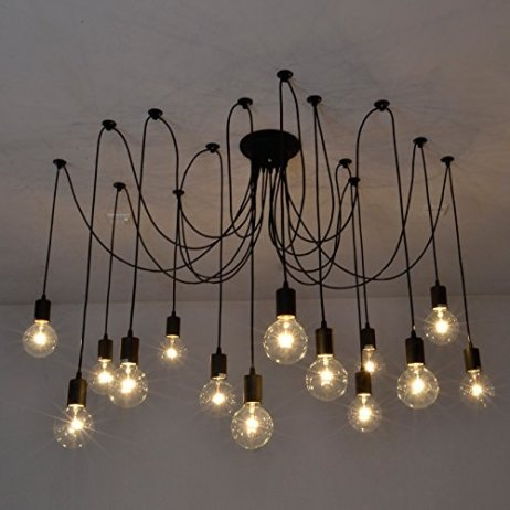 Fuloon Dw68 Vintage Edison Multiple Ajustable Diy Ceiling Spider Lamp Pendant Lighting Chandelier Modern Chic Industrial Dining With Romote Control