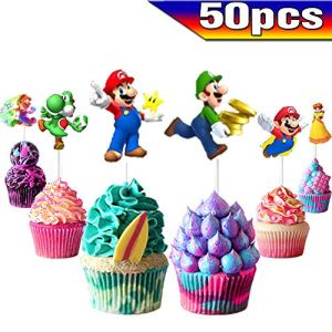 WELL BUY Super Mario Cupcake Toppers Super Mario Cake Toppers 50PCS, Super Mario Happy Birthday Party Supplies Cake Decorations for Super Mario fans, Kids Birthday Party 514zUMN0DsL