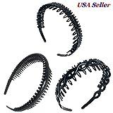 3 PCS Assorted Black Plastic Teeth Comb Headband Hairband Ladies Girl Fashion
