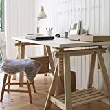 Ikea Linnmon White Desk Table 59x30' with 2 Beech Wood Brown Trestle Shelf Legs Height and Angle Adjustable, Drawing Table