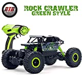 SZJJX RC Rock Off-Road Vehicle 2.4Ghz 4WD Powerful 1:18 Climbing RC Cars Radio Remote Control Cars Electric Rock Crawler Buggy Hobby Car Fast Race Truck for Kids Gift -Green