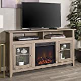 WE Furniture 58' Driftwood Highboy Fireplace Modern Media TV Stand Console for Flat Screen TV's Up to 65' Entertainment Center