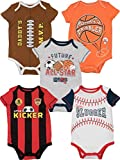 Funstuff Baby Boy Girl 5 Pack Sports Bodysuits Soccer Football Basketball Baseball (18 Months)