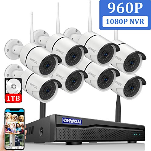 【2020 Newest】OHWOAI Security Camera System Wireless, 8CH 1080P NVR,8Pcs 960P HD Outdoor/ Indoor IP Cameras,Home CCTV Surveillance System(1TB Hard Drive)Waterproof,Remote Access,Plug&Play,Night Vision.
