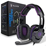 Stereo Gaming Headset PS4 Pro Xbox One, SADES SA930Plus Noise Cancelling Over Ear Headphones with Mic,Volume-Control, Bass, Soft Memory Earmuffs for Laptop Mac Nintendo Switch Games