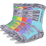 YUEDGE Women's 5 Pairs Wicking Cushion Anti Blister Outdoor Crew Socks for Hiking Walking Running Climbing Backpacking Skiing Year Round(L)