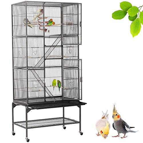 Yaheetech 69''H Extra Large Bird Cage for Mid-Sized Parrots Cockatiels Conures Parakeets Lovebirds Budgie Finch Small Animal Cage for Rats Chinchillas Ferrets