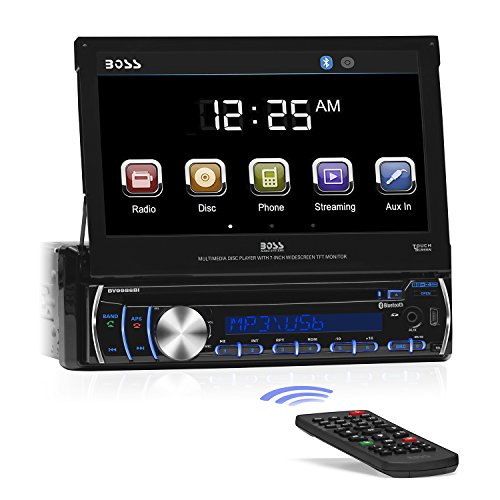 BOSS Audio BV9986BI - in-Dash, Single DIN, Bluetooth, DVD/CD/MP3/USB/SD AM/FM Receiver, Motorized 7' Touchscreen, Detachable Front Panel