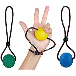 StringyBall Stress Ball on a String - for Stress Relief, Hand Exercise, Strengthening, Rehabilitation - Soft, Medium and Firm Balls with Exercise Guide - No Falling or Rolling Away (3 Balls Set)