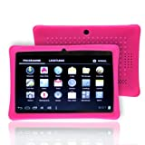 NSSTAR Soft Silicone Slim 7 Inch Tablet Protective Back Case Cover for Chromo,Dragon Touch A13 Q88,Y88,Afunta Q88,AGPtek,Alldaymall Q88,FastTouch,Zeepad 7.0,Fortress,Tagital,ZTO N1,ZTO N1 Plus,Alldaymall A88X 7'',NeuTab N7 Pro,Chromo Inc 7'(Hot Pink)