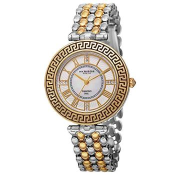 Akribos XXIV Men's Round Mother of Pearl With Genuine Diamonds and Quartz Bracelet Watch - AK808