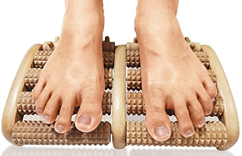 TheraFlow Dual Foot Massager Roller (Large). Relieve Plantar Fasciitis, Stress, Heel, Arch Pain - The Original - Shiatsu Acupressure Relaxation. Full Instructions/Reflexology Chart. Christmas Gift