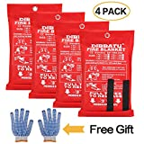 DIBBATU Fire Blanket Emergency Flame Retardent Shelter Safety Cover Designed for Kitchen,Fireplace,Grill,Car,Camping (4 Pack+ Free Gloves)