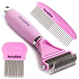 Furryfirst Dog Cat Grooming Tool Kit – Thick Undercoat Dematting Brush & Shedding Combs Set for 2 Layer Coats, Short, Medium & Long Haired Pets – Pain-Free Design, Ergonomic, Non-Slip