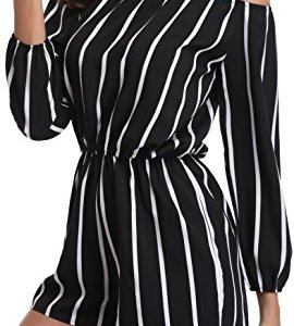 0bcf261f5fb MISS MOLY Rompers for Women Boat Neck Off The Shoulder Strapless Mid Rise  Jumpsuit with Belt
