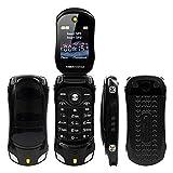 Sports Car Model F15 Mini Flip Phone Dual SIM Card MP3 Backup Phone Best For Kids Students (Black)