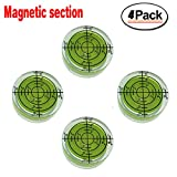 32mm Circular Bubble Spirit Level BY GFNT for Tripod, Phonograph, Turntable Etc (4-Pack Green) Magnetic section (3212mm(green)Magnetic section)