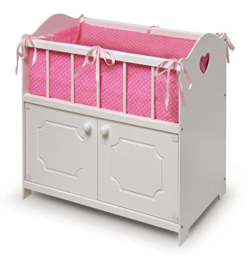 Badger Basket White Storage Doll Crib with Bedding (fits American Girl dolls)
