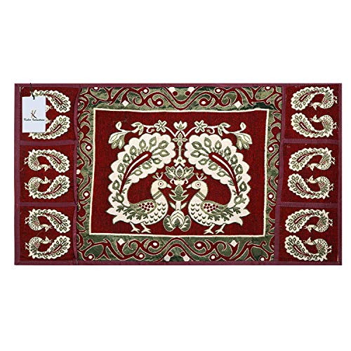 Kuber Industriestm Red Cotton Fridge Top Cover (Peacock Design) (Fc09) 3