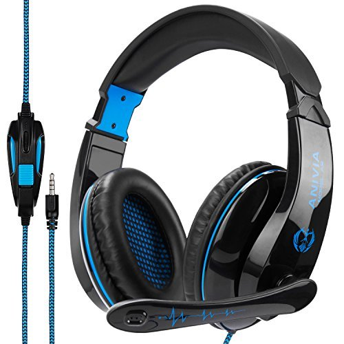 Anivia A9 Gaming Headset Stereo PC Computer Headphones with Microphone,Over Ear Noise Canceling 3.5mm Jack for PS4 New Xbox One Mac Gamer,Black/Blue