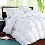 ROSECOSE Luxurious Goose Down Comforter King Size Duvet Insert Pinch Pleat 1200 Thread Count 750+ Fill Power 100% Cotton Shell Hypo-allergenic Down Proof with Tabs (King,White,Pinch Pleat)