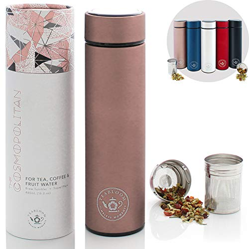 Teabloom All-Purpose Beverage Flask / 16 oz - 480 ml/Brushed Metal Insulated Water Bottle/Tea Tumbler/Travel Bottle/Cold Brew Coffee Mug/Extra-Fine Two-Way Infuser/Rose Gold