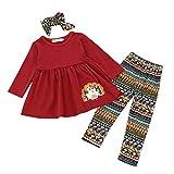 3Pcs Turkey Dresses Pants Thanksgiving Day Set for Toddler Infant Baby Girls