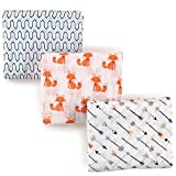 Hudson Baby Unisex Baby Muslin Swaddle Blankets, Foxes, Pack of 3, One Size
