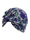 Purple Paisley Floral Print Turban Head Wrap For Women