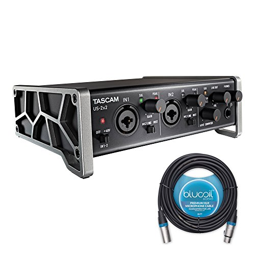 Tascam US-2x2 USB Audio/MIDI Interface - BUNDLED WITH - Blucoil Audio 20' Balanced XLR Cable