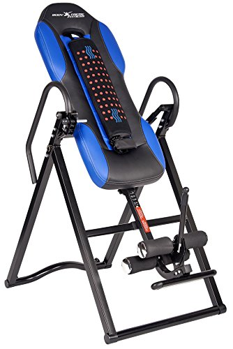 Body Xtreme Fitness Inversion Table, Advanced Heat and Massage Therapeutic Inversion Table, Comfort Foam Backrest, Back Fitness Therapy Relief + Bonus Cooling Towel