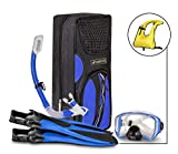 SealBuddy Fiji Panoramic Snorkel Set + Premium Travel Gear Bag ~ Vest Included (Dark/Blue, Large/XL Size 8 to 12)