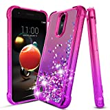 iCoold LG Aristo 2 Case,LG Aristo 3/2 Plus/Aristo 3+/Rebel 4 LTE/Fortune 2/Phoenix 4/Tribute Dynasty/Zone 4/K8/K8+ Plus/Tribute Empire Case,Bling Glitter Phone Cover for Girls Women,Pink/Purple