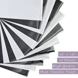Unime Heat Transfer Vinyl Black and White - 12'x12' - 12 Sheets - Iron...