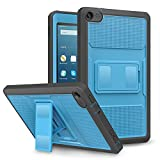 MoKo Case for Fire HD 8 2016 Tablet - [Heavy Duty] Full Body Rugged Cover with Built-in Screen Protector for Amazon Fire HD 8 (Previous 6th Generation - 2016 Release ONLY), Blue & Dark Gray
