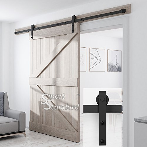 SMARTSTANDARD SDH1000JSHAPE01BK Heavy Duty Sturdy Sliding Barn Door Hardware Kit, 10ft Double Rail, Fit 60' Wide DoorPanel, Black, Super Smoothly and Quietly, Simple and Easy to Install