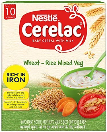Nestlé CERELAC Baby Cereal with Milk, Wheat-Rice Mixed Veg – From 10 Months, 300g BIB Pack