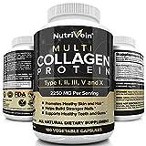 Nutrivein Multi Collagen Protein Capsules - 180 Collagen Capsules - Type I, II, III, V, X Collagen Pills - Proprietary Blend of Eggshell, Chicken, Wild Fish & Grass-Fed Beef Collagen Peptides - 2250mg