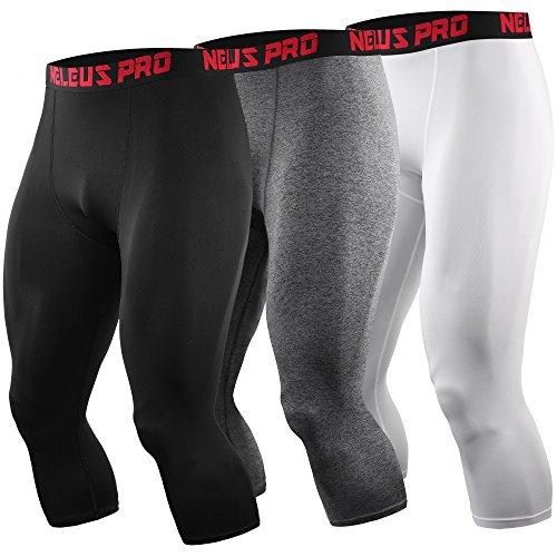 Neleus Men's Compression 3/4 Capri Running Leggings Sports Tights,6057,Black,Grey,White,2XL,EU 3XL