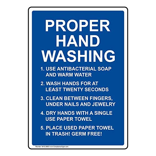 ComplianceSigns Vertical Plastic Proper Hand Washing Sign, 10 X 7 in. with English Text, White