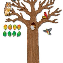 Carson Dellosa Woodland Bulletin Board Set—Seasonal Tree Cutout With Forest Animals, Autumn Leaves, Acorns, Elementary Classroom and Homeschool Decorations (120 pc)