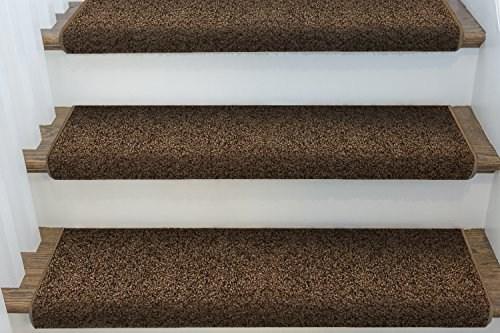 Single Windsor Adhesive Bullnose Carpet Stair Tread 27 W | Single Carpet Stair Treads | Stair Runner | Adhesive Padding | Wood | Sisal Stair | Non Slip