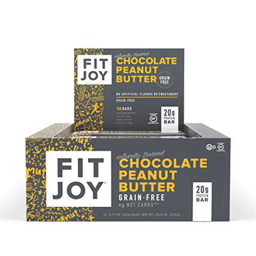 FitJoy Protein Bar, Grain Free, Gluten Free, Low Sugar, High Protein Snack, Chocolate Peanut Butter, Pack of 12 Bars
