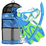 U.S. Divers Dorado JR Mask Fins Snorkel Set, Fun Blue, Medium