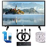 LG 28LJ430B-PU 28' Class HD 720p LED TV (2017 Model) with Two (2) 6 Foot HDMI Cables, Professional Screen Cleaning Kit, and 750 Joule 6-Outlet Surge Adapter Bundle