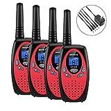 Walkie Talkies, 4 Pack Walkie Talkies Rechargeable, Befove 22CH Handheld FRS Transceiver Two Way Radios Long Range Walkie Talkie Kids for Kids Adults RED