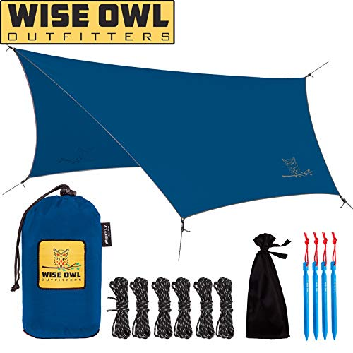 Wise Owl Outfitters Hammock Rain Fly Tent Tarp – The WiseFly Premium 11 x 9 ft Large Hex Waterproof Ripstop Nylon Camping Shelter Canopy Rainfly – Lightweight Camp Gear Accessories - Blue