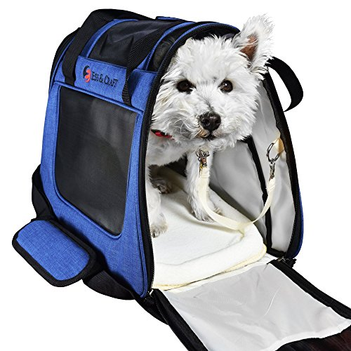 Ess and Craft Pet Carrier 2 Tone Blue Airline Approved | Side Loading Travel Bag with Sturdy Bottom & Fleece Bed | Ventilated Pouch with Top Comfy Handle & Zipper Locks | for Dogs, Cats, Small Pets 1