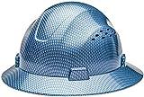 HDPE-Hydro Dipped Blue Full Brim Fiberglass Hard Hat with Fas trac Suspension HDPE Hydro