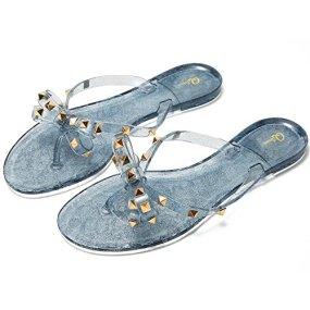 Image result for Qilunn Women Studded Bow Flip Flops Jelly Thong Sandals Rubber Flat Summer Beach Rain Shoes